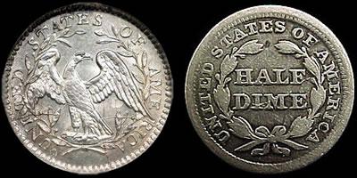 The 1794 U.S. half-dime and the 1855 U.S. half-dime
