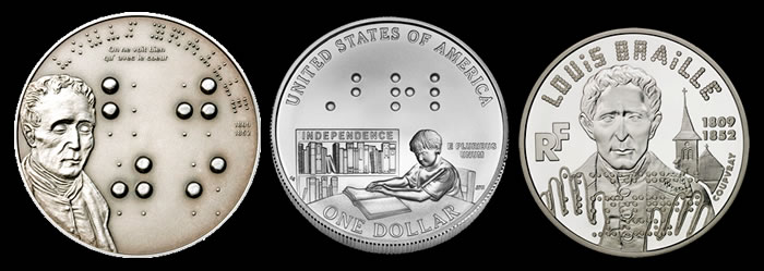 The 2009 Republic of Palau $5, 2009 U.S. Bicentennial Silver Dollar, and 1999 France 10 Franc Louis Braille Coins.