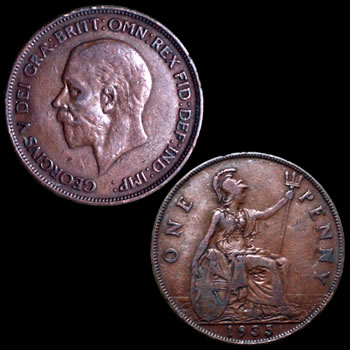 1910 - 1936 Great Britain Large Penny