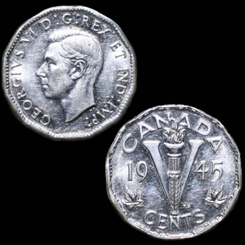 1944 - 1945 Canada 5 Cent Victory Nickel