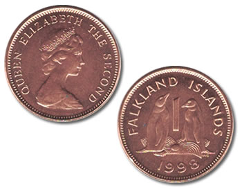 Falkland Islands 1 Pence Gentoo Penguin Coin
