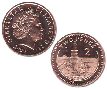 Gibraltar 2 Pence Lighthouse Coin