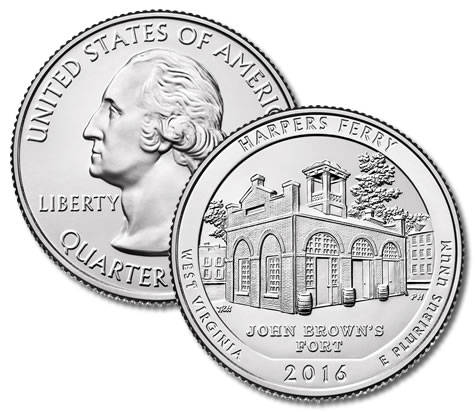 WV QUARTERS UNCIRCULATED 2016-P HARPERS FERRY NATIONAL HISTORICAL PARK
