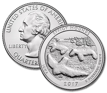 2017-P Effigy Mounds National Monument Quarter - Uncirculated